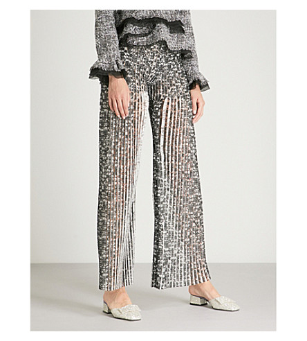 HUISHAN ZHANG Lace-embroidered wide-leg mid-rise crepe trousers (Black+black
