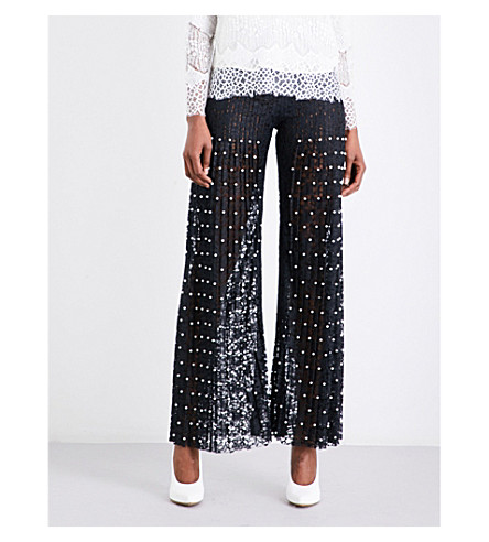 HUISHAN ZHANG Faux-pearl embellished wide-leg pleated lace trousers (Black