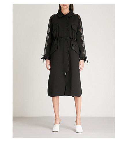 HUISHAN ZHANG Scalloped crepe and silk coat (Black/black