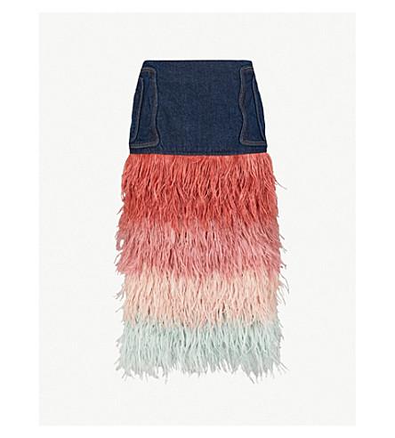 JOHANNA ORTIZ A Visit to Fairyland denim and ostrich feather skirt (Sapphire