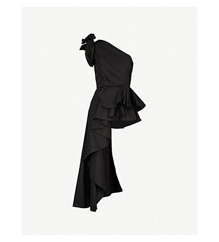 JOHANNA ORTIZ Agave one-shoulder stretch-cotton top (Noche+black