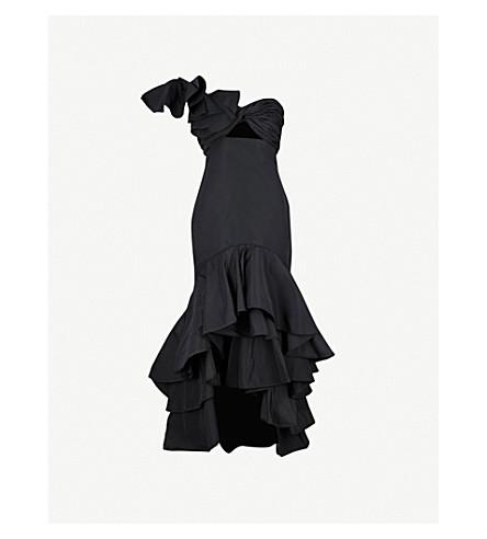 JOHANNA ORTIZ Black Iris one-shoulder silk gown (Noche+black