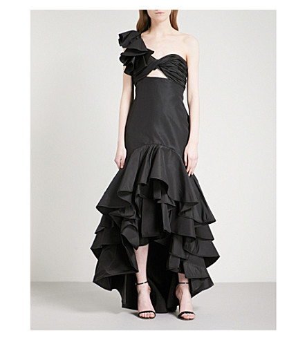 JOHANNA ORTIZ Black Iris one-shoulder silk gown (Noche+black