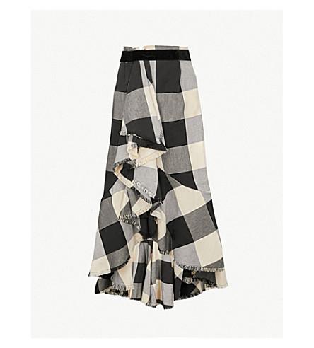 JOHANNA ORTIZ Bosque del Apache cotton-blend maxi skirt (Black+texan+garden+plaid