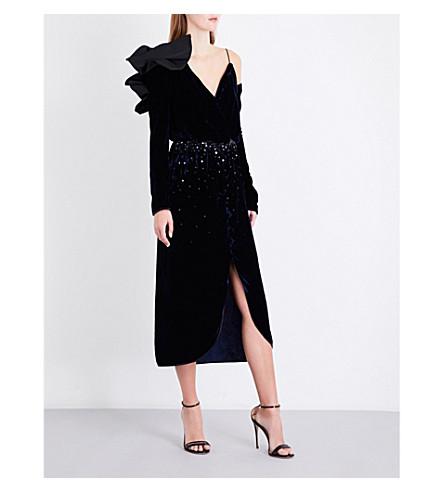 JOHANNA ORTIZ Carmelilla V-neck velvet dress (Navy/black