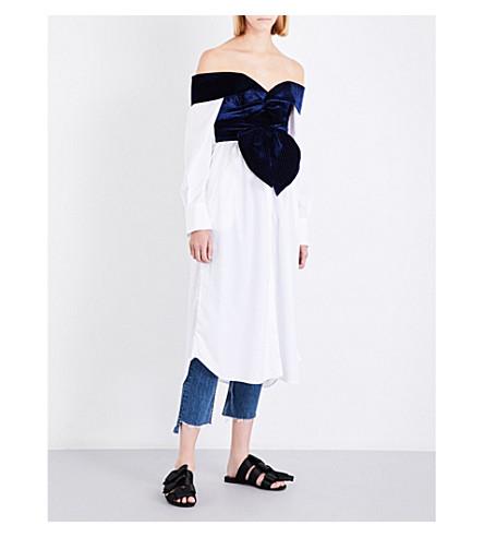 JOHANNA ORTIZ Carmen cotton-poplin and velvet shirt dress (Midnight+/+off+white