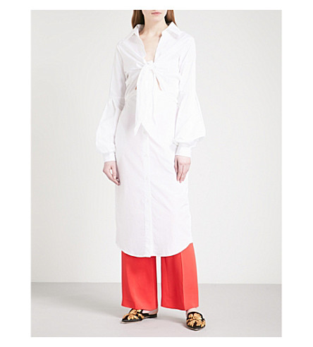 JOHANNA ORTIZ Coyotero cotton shirt dress (Western+white