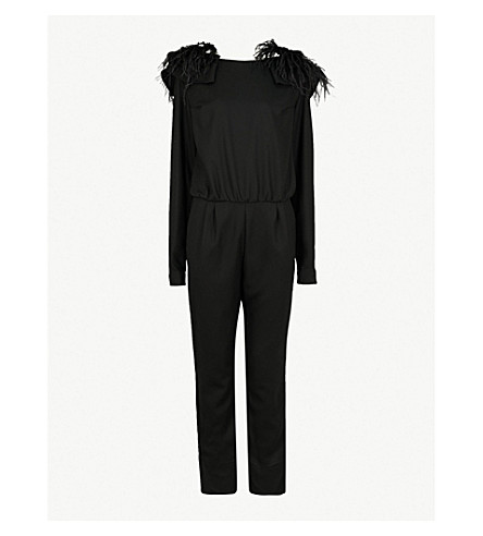 JOHANNA ORTIZ Feel Me ostrich-detail wool jumpsuit (Black+tourmaline