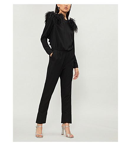 JOHANNA ORTIZ Feel Me ostrich-detail wool jumpsuit (Black+tourmaline