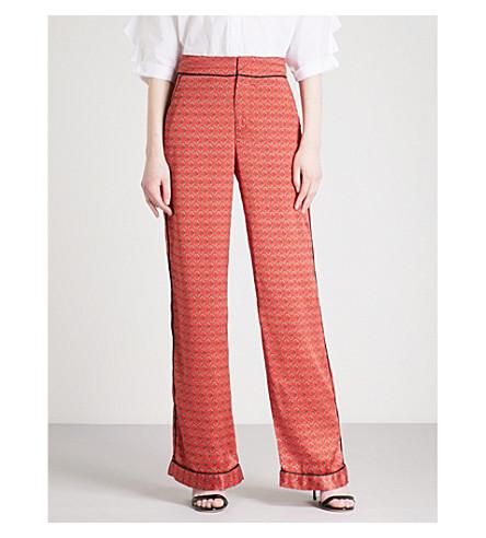 JOHANNA ORTIZ Floral-print wide-leg silk-satin trousers (Lava+red+-+sand+desert