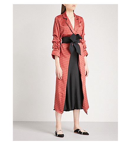 JOHANNA ORTIZ Infante Kimono silk-satin jacket (Lava+red+-+sand+desert