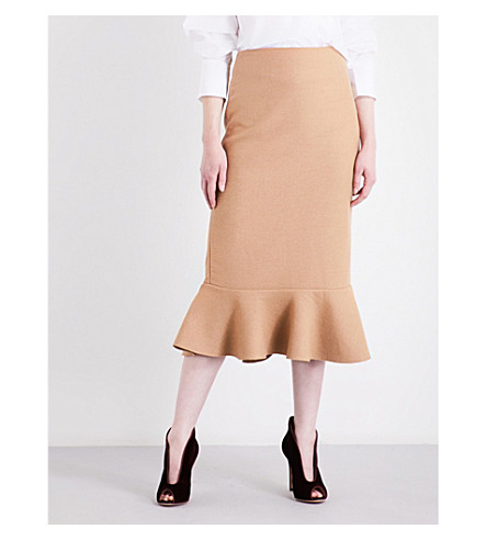 JOHANNA ORTIZ Joplin high-rise stretch-wool skirt (Camel