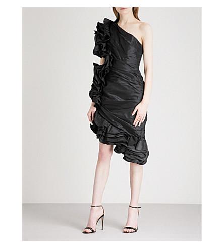 JOHANNA ORTIZ Asymmetric ruffled silk mini dress (Noche+black