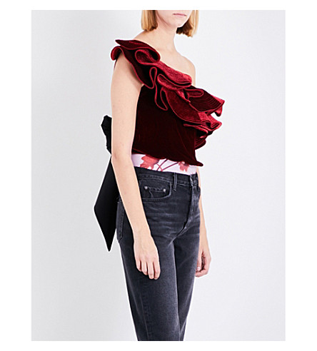 JOHANNA ORTIZ Lorca ruffled velvet body (Cherry