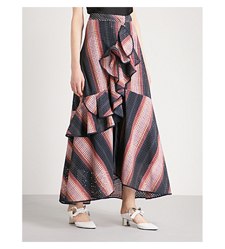 JOHANNA ORTIZ Los Alamos flared-panel cotton skirt (Medianoche+navy+old+rose