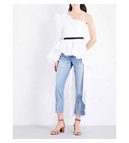 JOHANNA ORTIZ Malina one-shoulder cotton-poplin top (Off+white