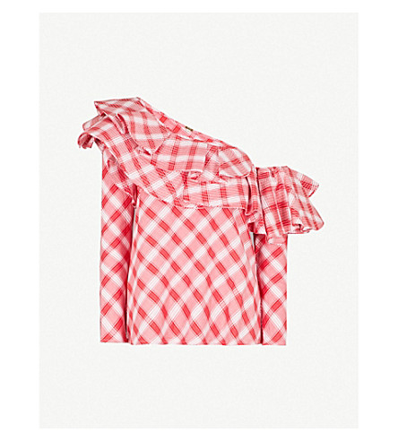 JOHANNA ORTIZ Mangas Coloradas one-shoulder cotton top (Chili+red+-+w+wht+t