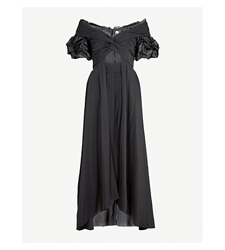 JOHANNA ORTIZ Maria Felix off-the-shoulder silk dress (Noche+black