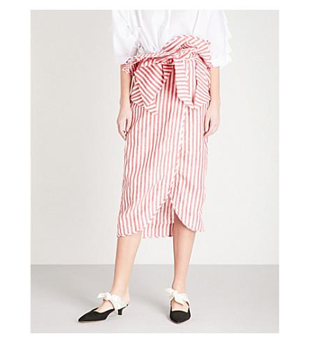 JOHANNA ORTIZ Milrayas linen wrap skirt (Chili+red+-+wht+strp