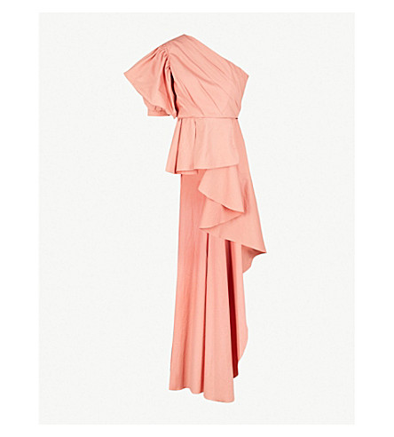 JOHANNA ORTIZ Pampas one-shoulder stretch-cotton top (Marsala