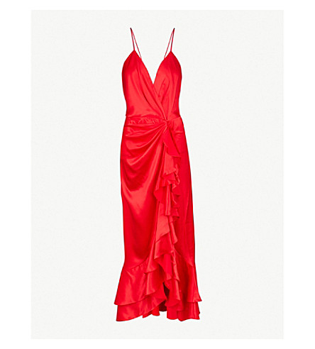 JOHANNA ORTIZ Perfumero silk-satin midi dress (Spicy+red