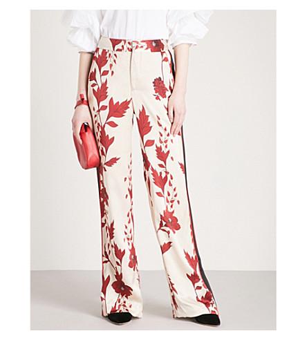 JOHANNA ORTIZ Pissaro wide-leg high-rise silk-satin trousers (Eccru+-+merlot