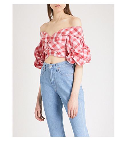 JOHANNA ORTIZ Que Viva La Fiesta off-the-shoulder cotton top (Chili+red+-+wstrn+wht