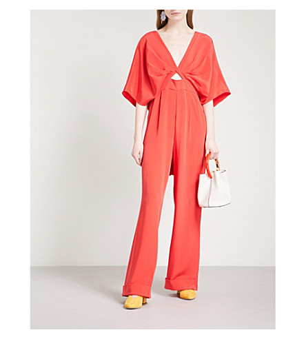 JOHANNA ORTIZ Canna wide-leg silk jumpsuit (Lava+red