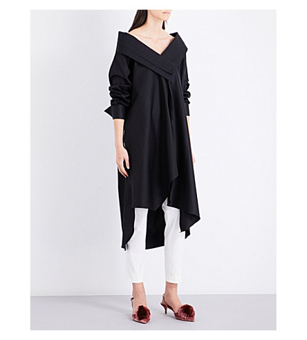 JOHANNA ORTIZ Ringo V-neck cotton-poplin shirt dress (Black