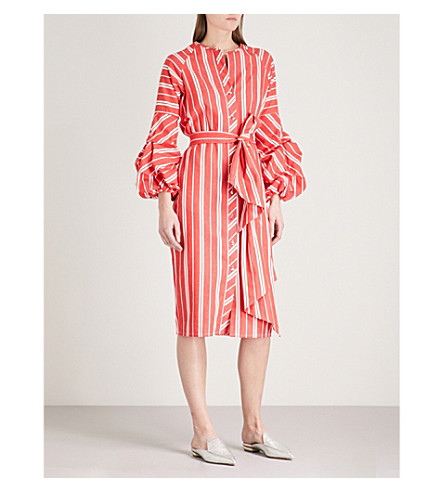 JOHANNA ORTIZ Santa Fe striped linen dress (Rojo+atardecer+stripes