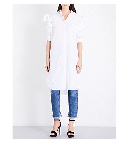 JOHANNA ORTIZ Sarah ruffled-sleeve cotton-poplin shirt dress (Off+white
