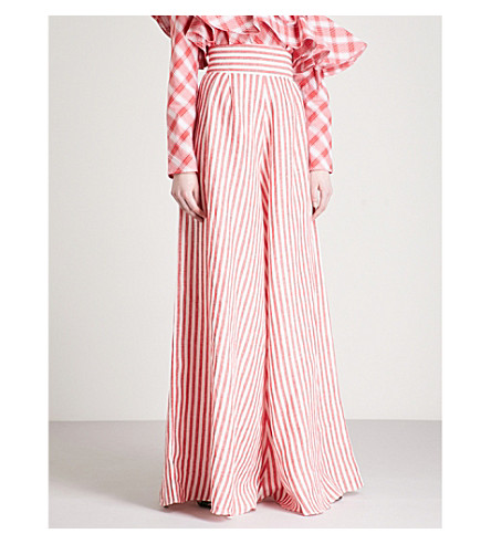 JOHANNA ORTIZ Striped wide-leg linen trousers (Chili+red+-+w+wht+strp