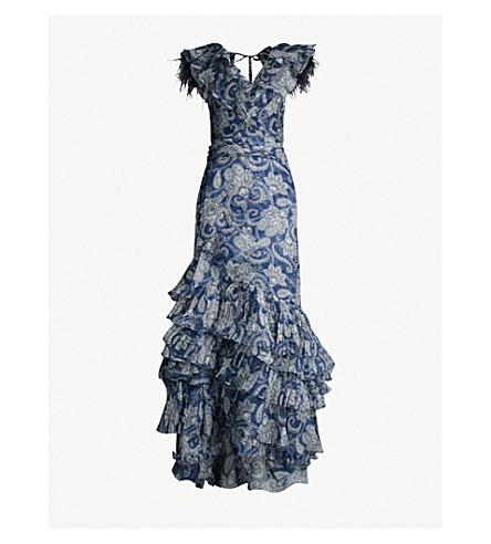 JOHANNA ORTIZ The Sea Nymph paisley-print ruffle silk-organza dress (Paisley antique sky