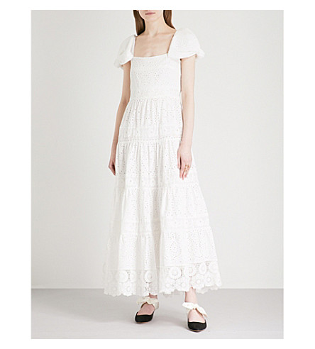 JOHANNA ORTIZ Broderie anglaise cotton-blend maxi dress (Western+white+suculentas