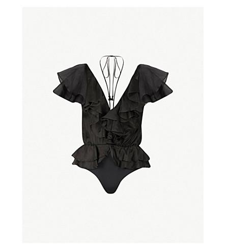 JOHANNA ORTIZ Zambezi ruffled silk-blend body (Night+black