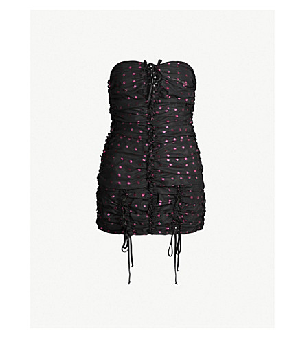 ATTICO Metallic polka dot woven dress (Black