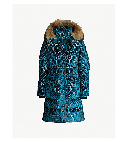 MOOSE KNUCKLES Moose Knuckles x Mary Katrantzou Austen faux fur-trimmed velvet down parka coat (Turquoise
