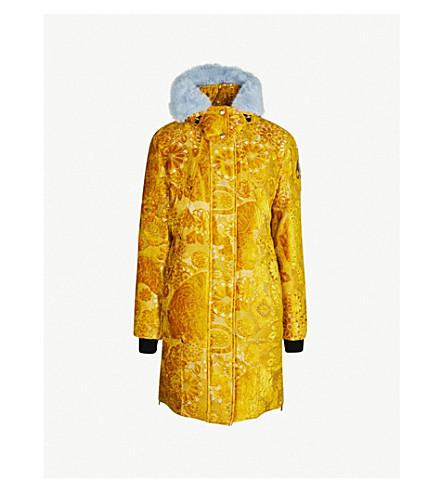 MOOSE KNUCKLES Moose Knuckles x Mary Katrantzou Isobel faux fur-trimmed velvet parka coat (Gold