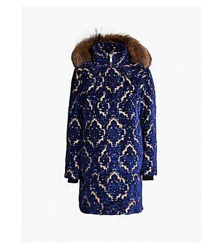 MOOSE KNUCKLES Moose Knuckles x Mary Katrantzou Isobel faux fur-trimmed velvet parka coat (Navy