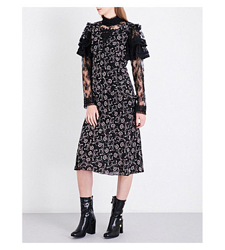 ANNA SUI Textured floral-embroidered silk dress (Black/multi