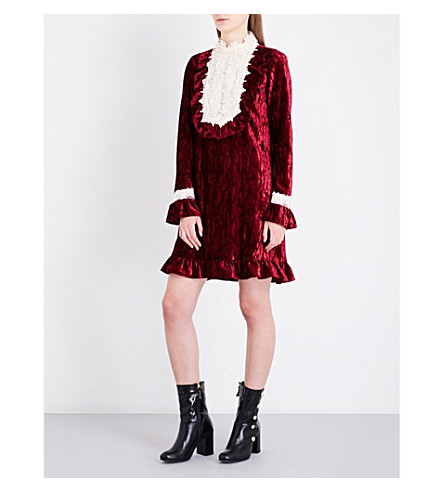 ANNA SUI High neck floral-lace and crushed-velvet mini dress (Wine+multi