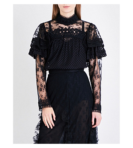 ANNA SUI Ruffled floral-lace top (Black