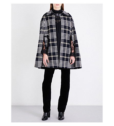 ANNA SUI Tartan wool-blend cape (Black+multi