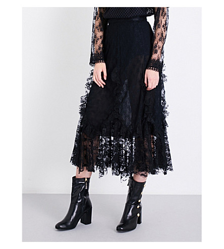 ANNA SUI Flared high-rise rosebud floral-lace skirt (Black