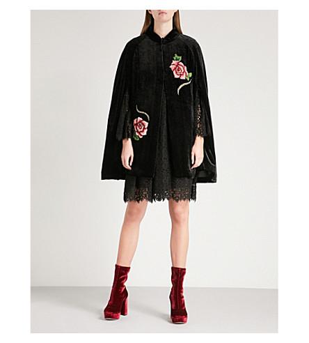 ANNA SUI Rose-embroidered velvet cape (Black+multi