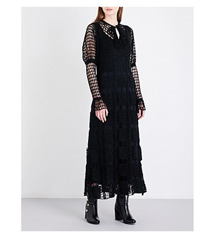 ANNA SUI Metallic thread crochet dress (Black