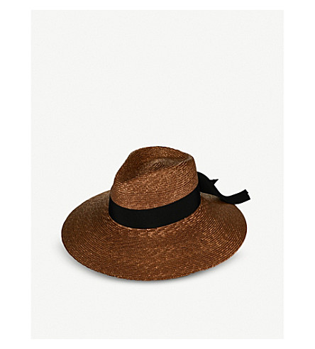 FEDERICA MORETTI Ila wide-brimmed straw fedora hat (Tabacco/black
