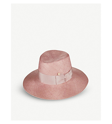 FEDERICA MORETTI Jes faux pearl-detail straw fedora hat (Pink/pink