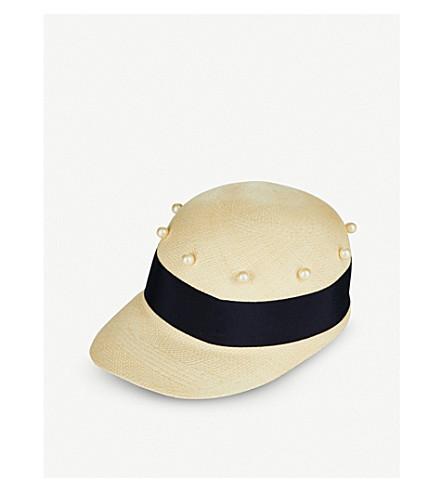 FEDERICA MORETTI Joe faux pearl-embellished straw Panama cap (Natural/blue