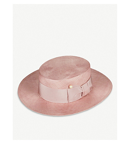 FEDERICA MORETTI Viv faux pearl-detail straw boater hat (Pink/pink